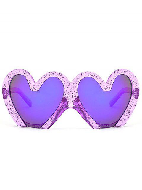 shop UV Protection Heart Sunglasses - PURPLE  Mobile