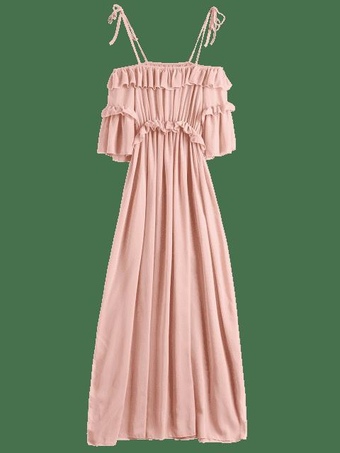 Vestido de Playa con Volantes de Gasa - Rosa L Mobile