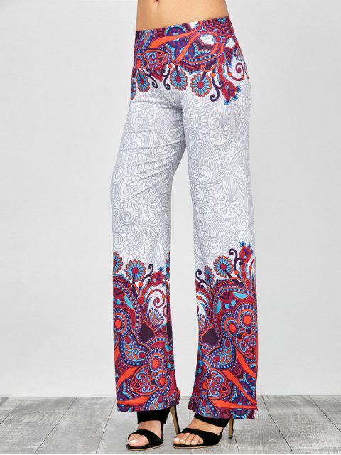 Paisley elástico de la cintura de los pantalones Palazzo Imprimir - Blanco XL Mobile