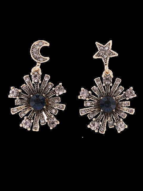Boucles d'oreilles étoilées et lunaires à pendants de soleils - Or  Mobile