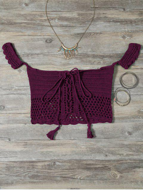 shop Knitted Off The Shoulder Bikini Bra - BURGUNDY ONE SIZE Mobile