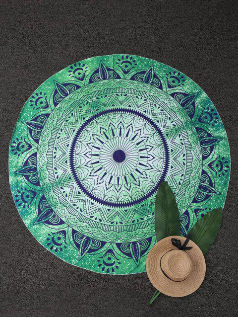 ladies Round Geometric Beach Throw - GREEN ONE SIZE Mobile