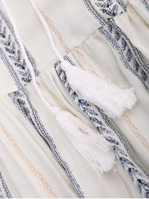 fashion Stripe Print Mini Smock Dress - OFF-WHITE S Mobile
