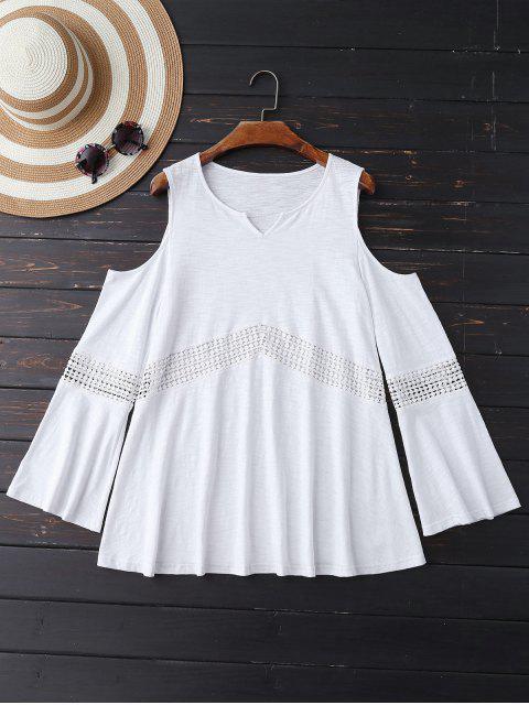 shops Lace Insert Cold Shoulder Top - WHITE XL Mobile