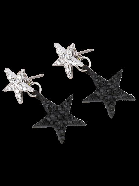 Boucles d'oreilles à pentacles de strass - Noir  Mobile