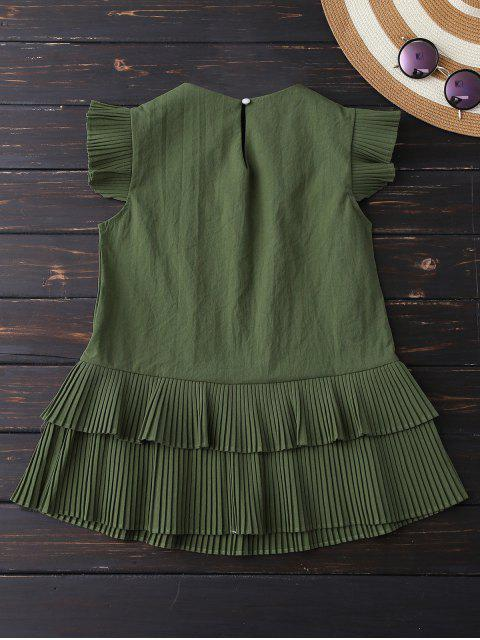 fashion Layered Pleated Panel Blouse - ARMY GREEN S Mobile