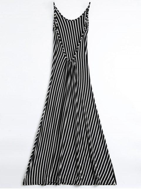 best Backless Striped Maxi Cami Dress - BLACK S Mobile