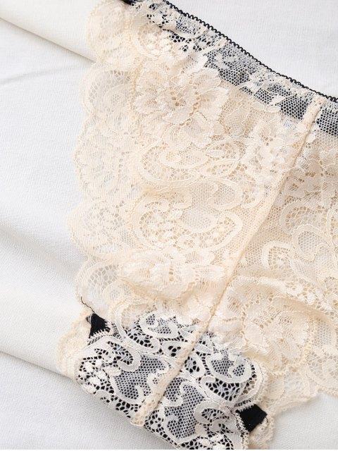 trendy Bowknot Scalloped Lace Bra Set - BEIGE 70D Mobile