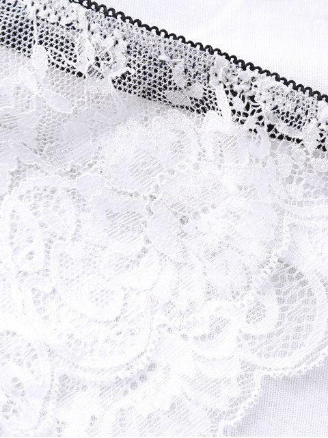 best Bowknot Scalloped Lace Bra Set - WHITE 75A Mobile