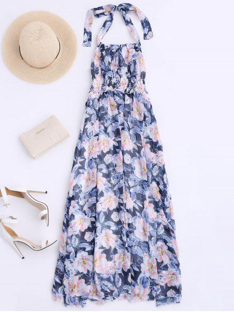 outfits Shirred Halter Floral Maxi Beach Dress - FLORAL S Mobile