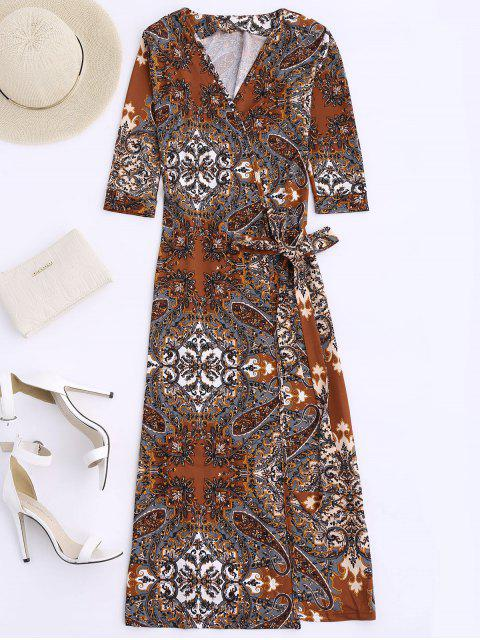 ladies Print Wrap Beach Dress - COFFEE M Mobile