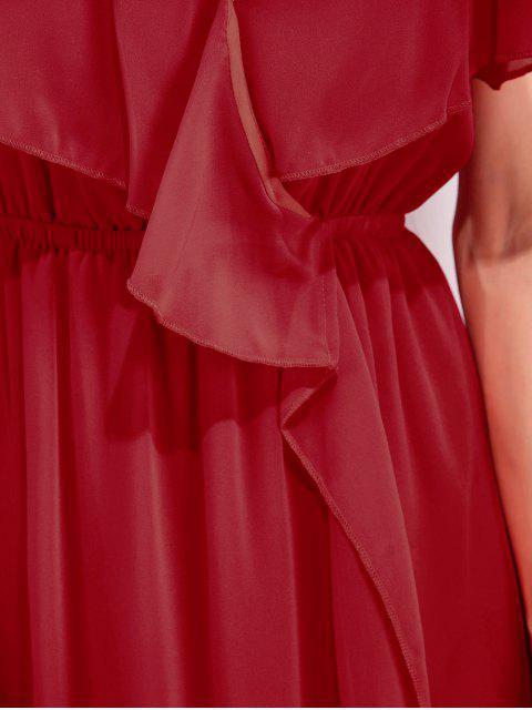 women High Slit Ruffle Slip Chiffon Dress - RED M Mobile