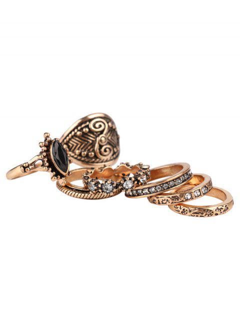 fancy Rhinestone Engraved Vintage Ring Set - GOLDEN ONE-SIZE Mobile