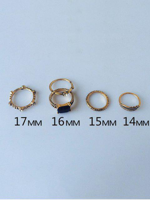 outfit Engraved Faux Gem Rhinestone Ring Set - GOLDEN  Mobile