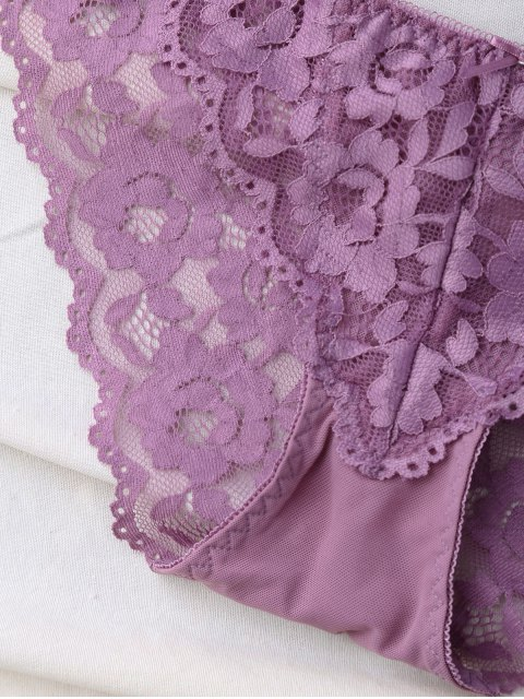 women's Scalloped Lace Panel Spring Strap Bra Set - PURPLE 70A Mobile
