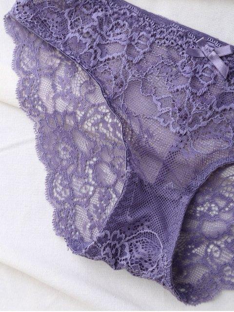 outfits Double Straps Bowknot Lace Panel Bra Set - LIGHT PURPLE 70B Mobile