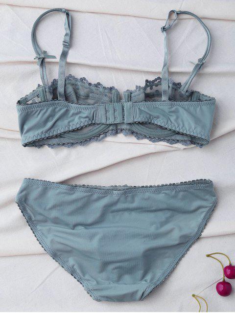 trendy Lace Hook Bowknot Bra Set - SAGE GREEN 90D Mobile
