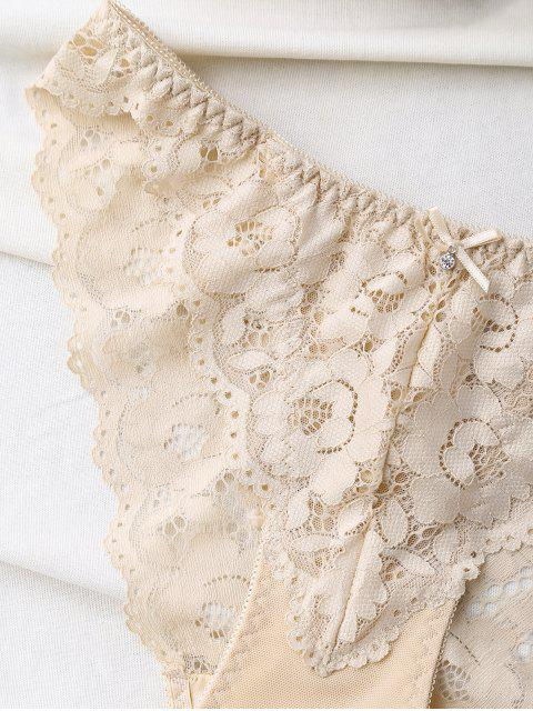 womens Scalloped Lace Panel Spring Strap Bra Set - SKIN COLOR 80A Mobile