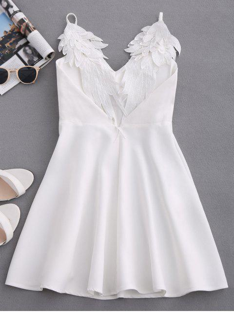 women's Wing Strap Skater Padded Dress - WHITE L Mobile