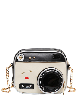 Novelty Camera Shaped Cross Body Bag - White And Black