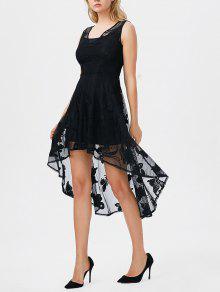 فستان كامي وفستان طباعة الفراشة دانتيل عالية انخفاض - أسود S