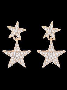 Pentagram Rhinestoned Earrings - Golden
