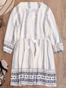 Stripe Print Mini Smock Dress - Off-white L