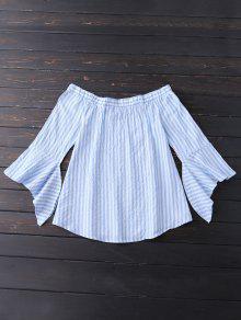 Bell Sleeve Off Shoulder Striped Blouse - Sky Blue Xl