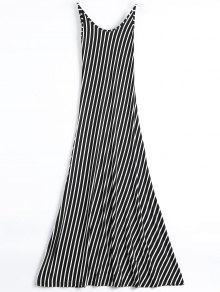 Backless Striped Maxi Cami Dress - Black S