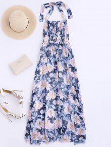 Shirred Halter Floral Maxi Beach Dress - Floral M