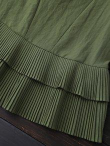 La Del Capas Blusa Panel De Plisadas De Ej Verde Of1n6zx
