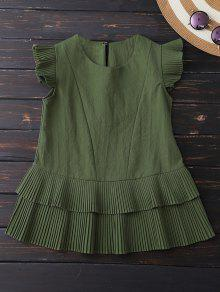 Layered Pleated Panel Blouse - Army Green Xl