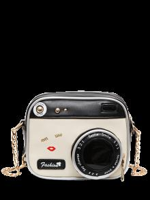 حقيبة طويلة التمر بالجسم على شكل كاميرا حديثة - أبيض وأسود