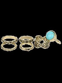 Alloy Engraved Artificial Turquoise Ring Set - Golden