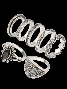 Rhinestone Engraved Vintage Ring Set - Silver One-size