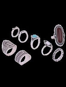 Engraved Faux Gem Turquoise Ring Set - Silver One-size
