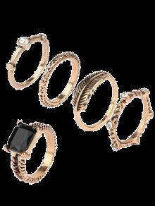 محفورة فو جوهرة حجر الراين خاتم مجموعة - ذهبي