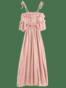 فستان الشيفون كشكش الشاطئ ماكسي - زهري L