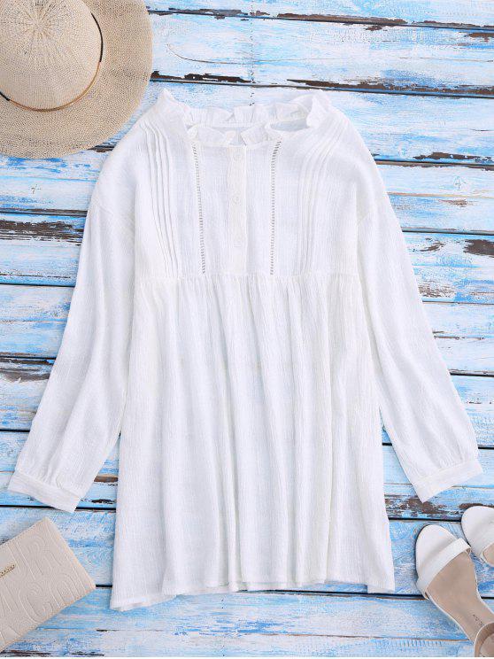 Blouse à encolure tunisienne à fanfreluches - Blanc Taille Unique