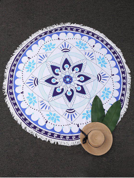 Couverture de plage frangée ronde à motif de tapisserie mandala - Blanc