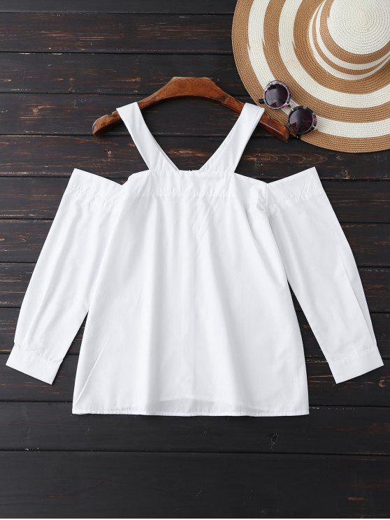 Popelina Cold Shoulder de la blusa - Blanco M