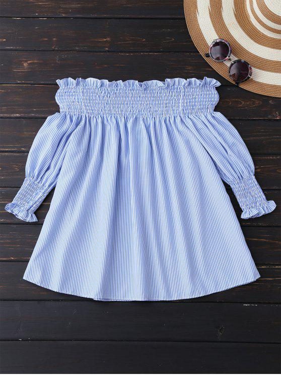 best Smocked Off The Shoulder Blouse - BLUE AND WHITE L