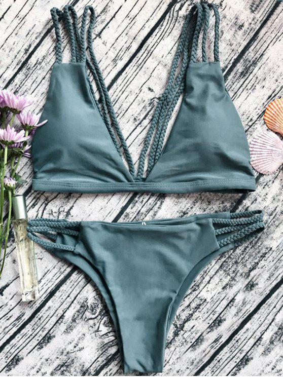Low Cut Strappy Bralette Bikini - Verde del ejército S