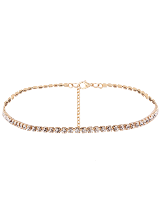 Collier en alliage et chaîne en  strass - Or