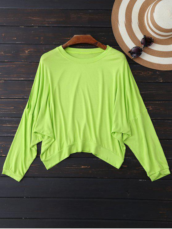 Top con hombros de gran tamaño - Verde de Neón L