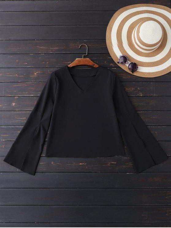 ladies V Neck Slit Sleeve Blouse - BLACK XL