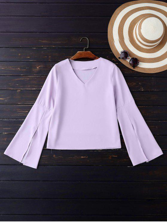 V-Ausschnitt Schlitz Hülse Bluse - Violett S