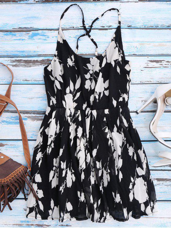 Cami Kleid mit Blumendruck und Kreuzgurte am Rücken am Strand - Schwarz M