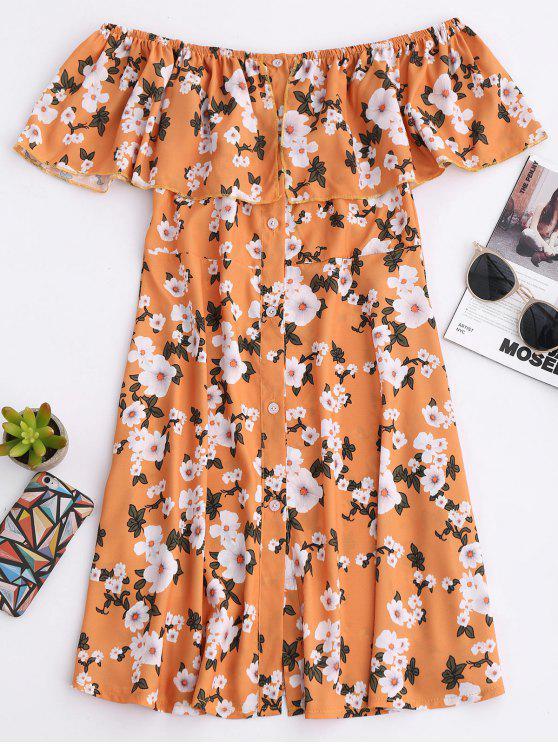 Blumen aus der Schulter A-Line Kleid - Khaki XL