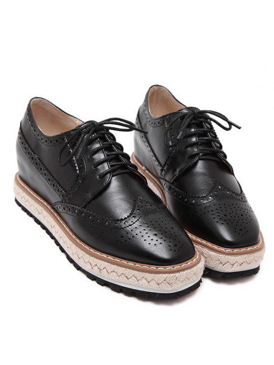 Wingtip Espadrilles Square Toe Platform Shoes - Black 38